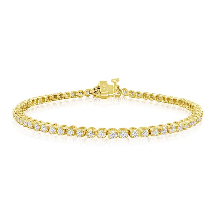 2ct Round Based Diamond Tennis Bracelet in 14k Yellow Gold