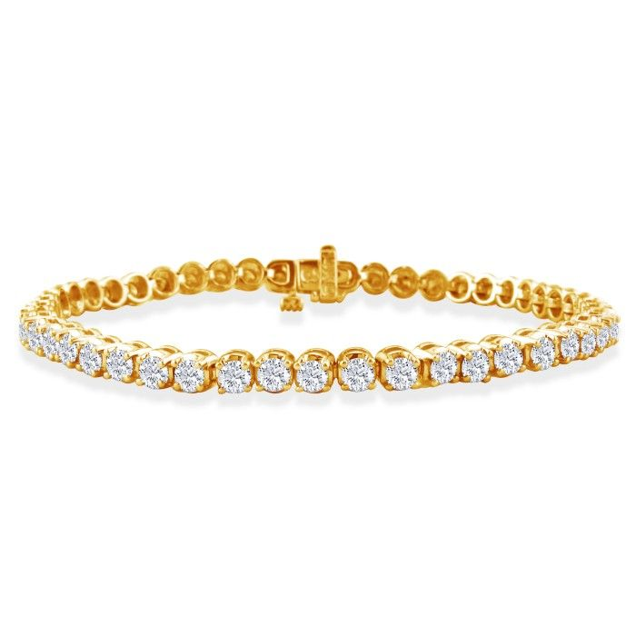 3ct Round Based Diamond Tennis Bracelet in 14k Yellow Gold