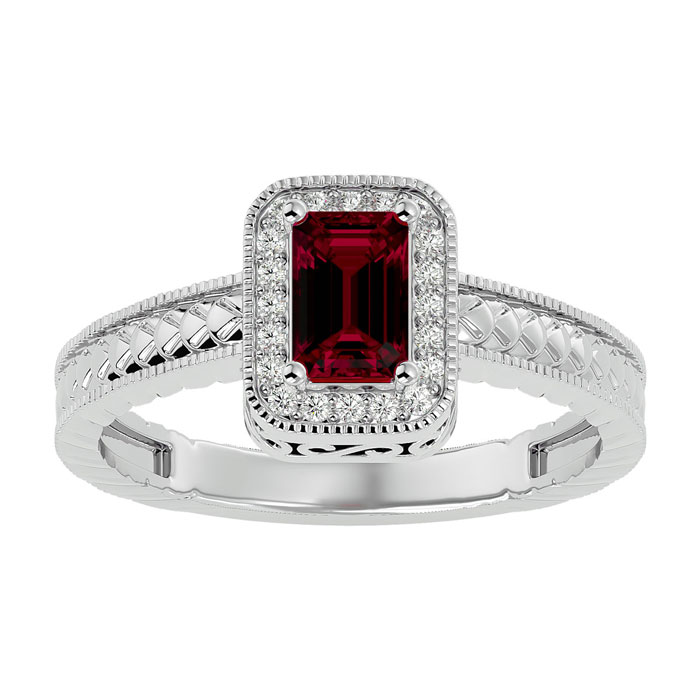 .85ct Antique Style Ruby and Diamond Ring in 10k White Gold thumbnail