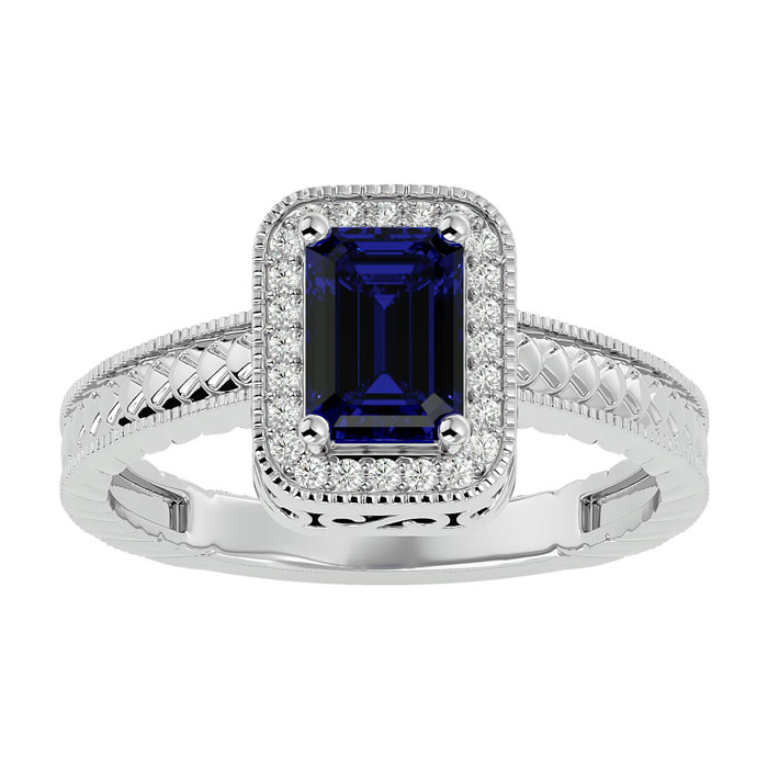 1.17ct Sapphire and Diamond  Ring in 10k White Gold
