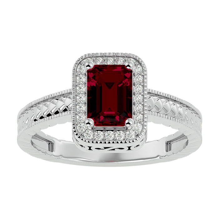 1.17ct Ruby And Diamond Ring In 10k White Gold
