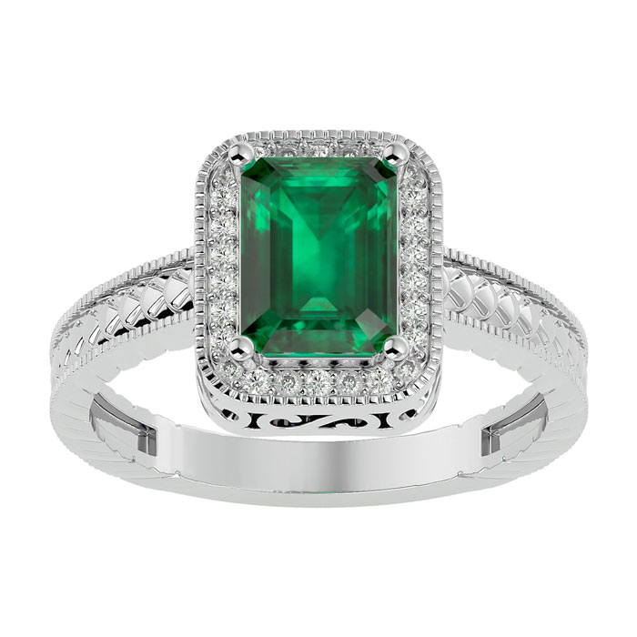 2.19ct Antique Style Emerald And Diamond Ring In 14k White Gold