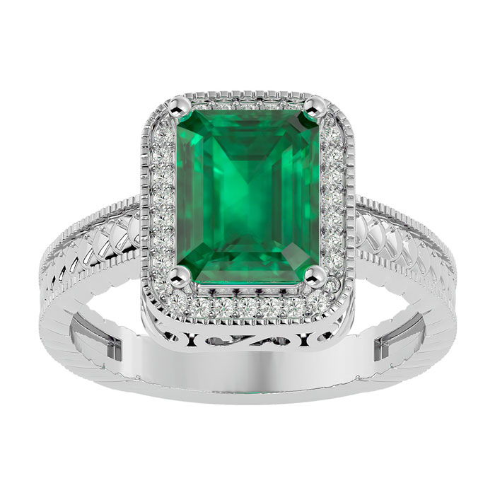 3ct Antique Style Emerald And Diamond Ring In 14k White Gold