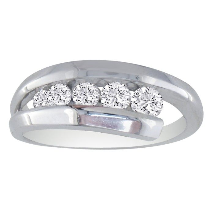 1/2ct Five Diamond Journey Diamond Ring in 14k White Gold