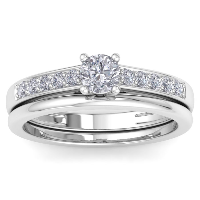 1/2ct Classic Diamond Bridal Set in 14k White Gold thumbnail