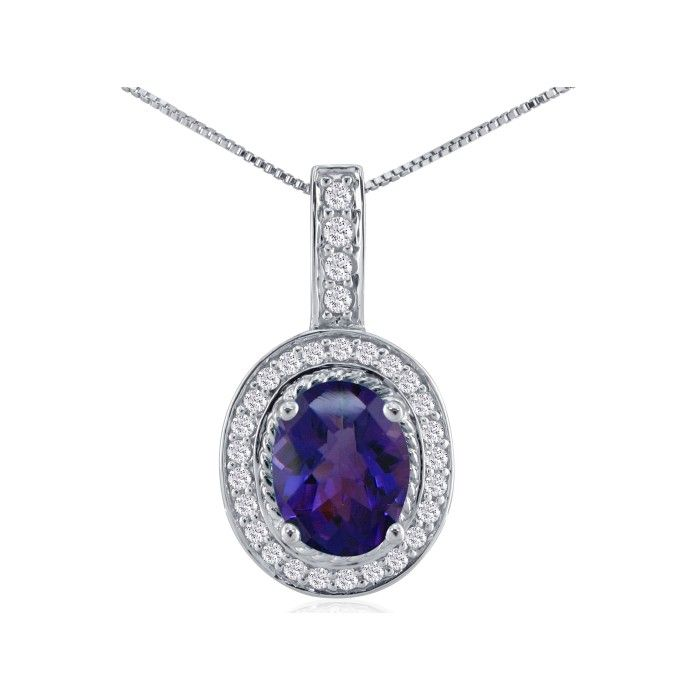 3.00ct Amethyst and Diamond Pendant in 14k White Gold