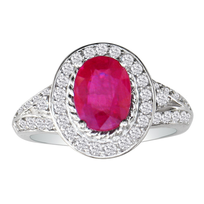 2ct Ruby and Diamond Ring in 14k White Gold