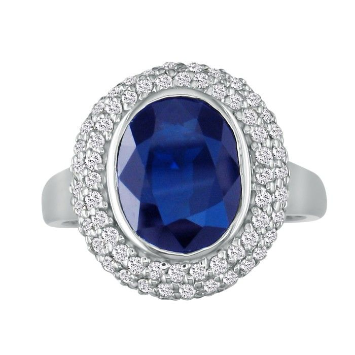4ct Sapphire and Diamond Ring in 14k White Gold