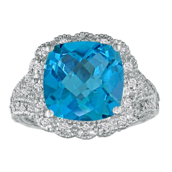 Stylish 4 1/2ct Blue Topaz and Diamond Ring in 14k White Gold