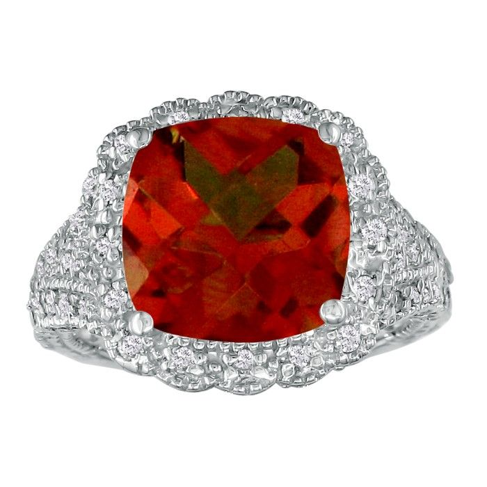 Stylish 4 1/2ct Garnet and Diamond Ring in 14k White Gold