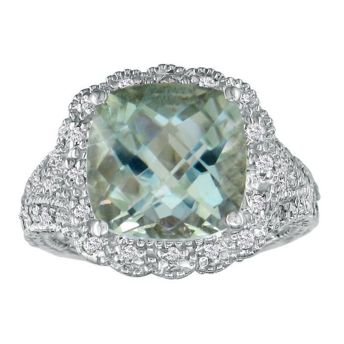 Stylish 4 1/2ct Green Amethyst and Diamond Ring in14k WG
