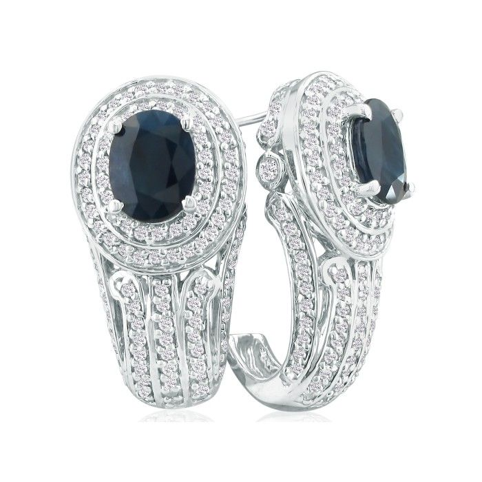 4 1/4ct Sapphire And Diamond Earrings In 14k White Gold