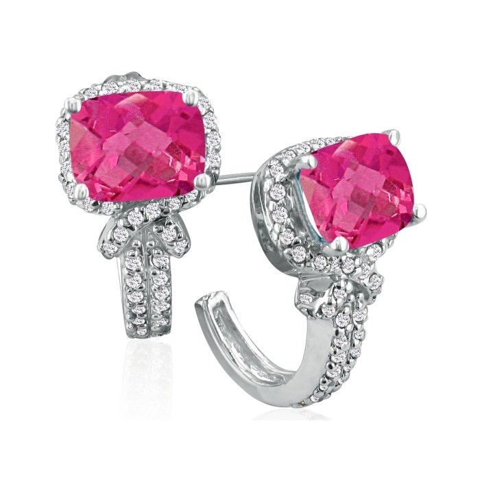 5 1/4ct Pink Topaz and Diamond Earrings in 14k White Gold
