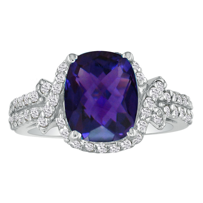 4ct Amethyst and Diamond Ring in 14k White Gold