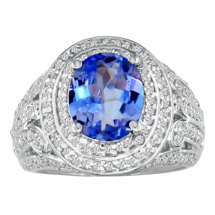 Bold 4 1/3ct Tanzanite and Diamond Ring in 14k White Gold