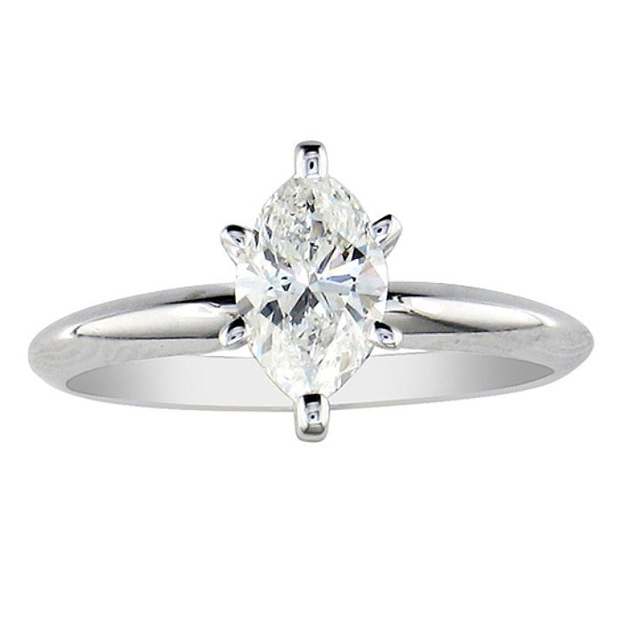 1/4ct Marquise Cut Diamond Engagement Ring in 10k White Gold thumbnail