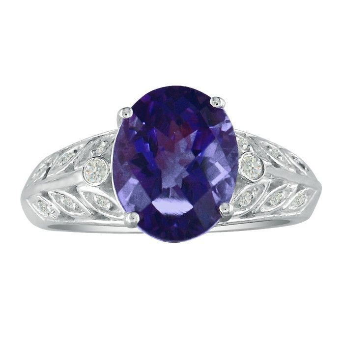 1 1/2ct Amethyst And Diamond Ring In 14k White Gold. Fantastic Price
