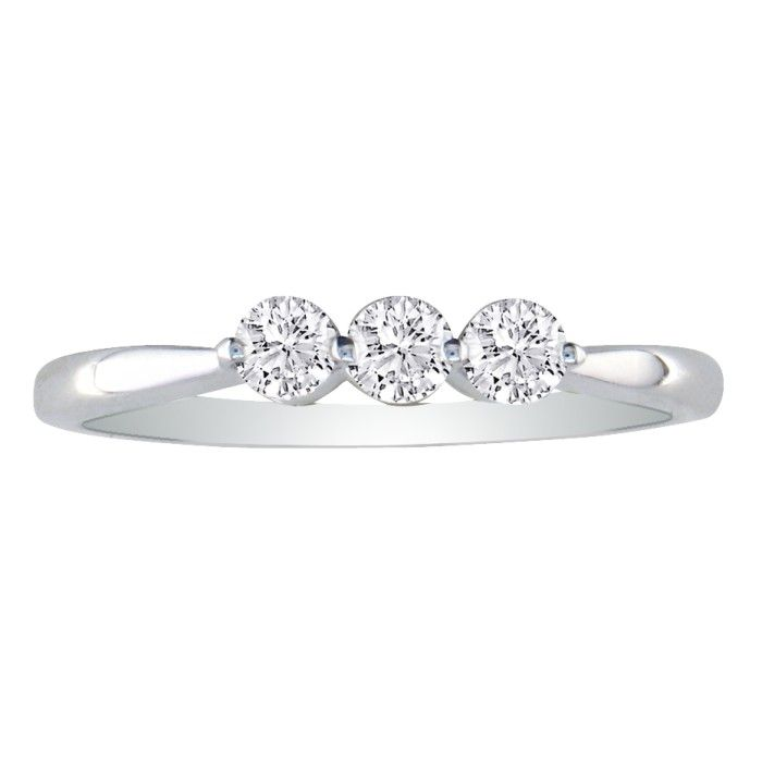 15ct three promise ring in 10k white gold