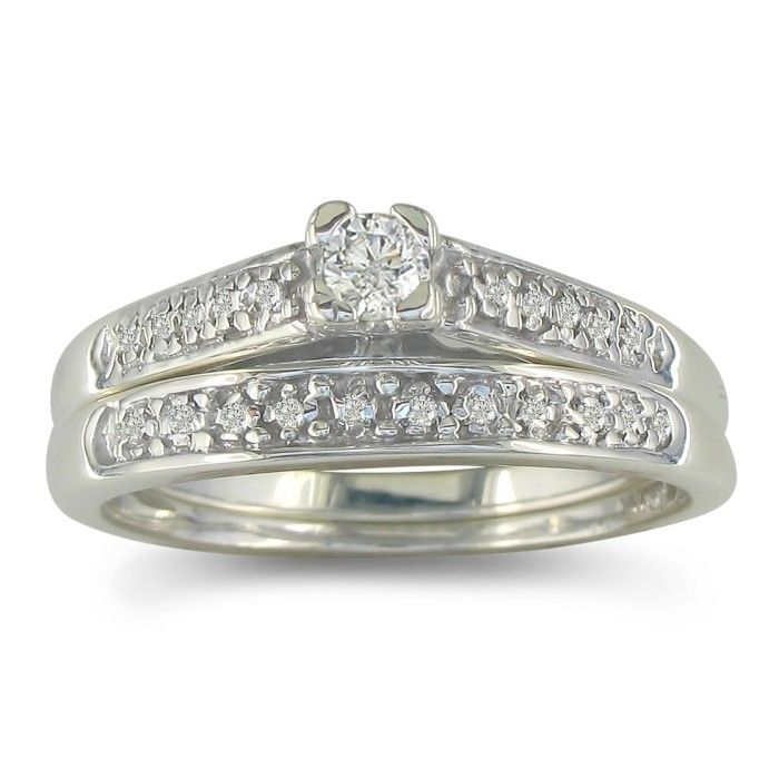 1/4ct Diamond Bridal Set in Sterling Silver. Classic and Affordable.