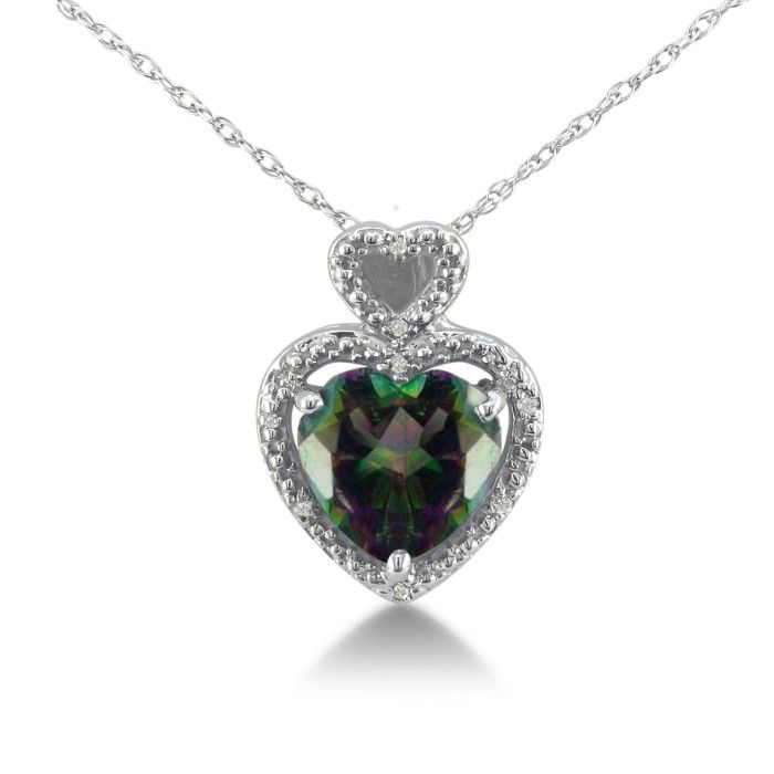 1 3/4ct Mystic Topaz and Diamond Heart Pendant in 10k White Gold