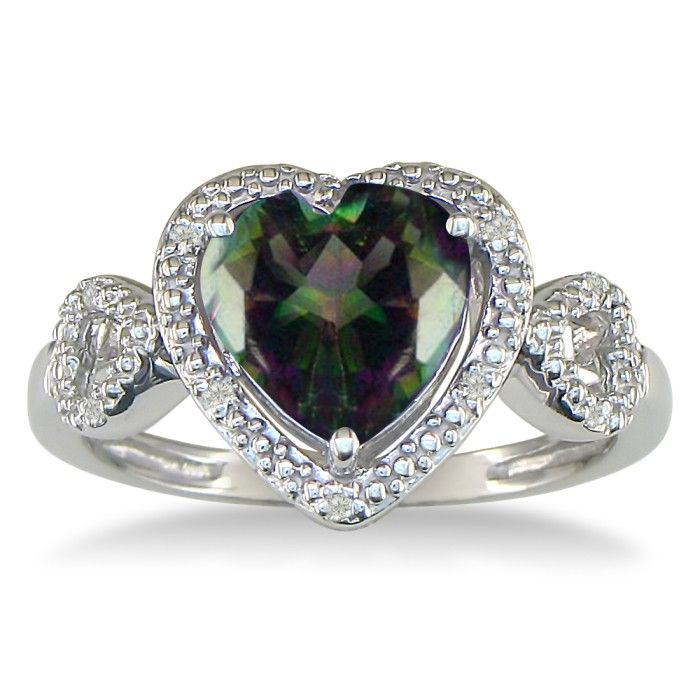 1 3/4ct Mystic Topaz and Diamond Heart Ring in 10k White Gold thumbnail