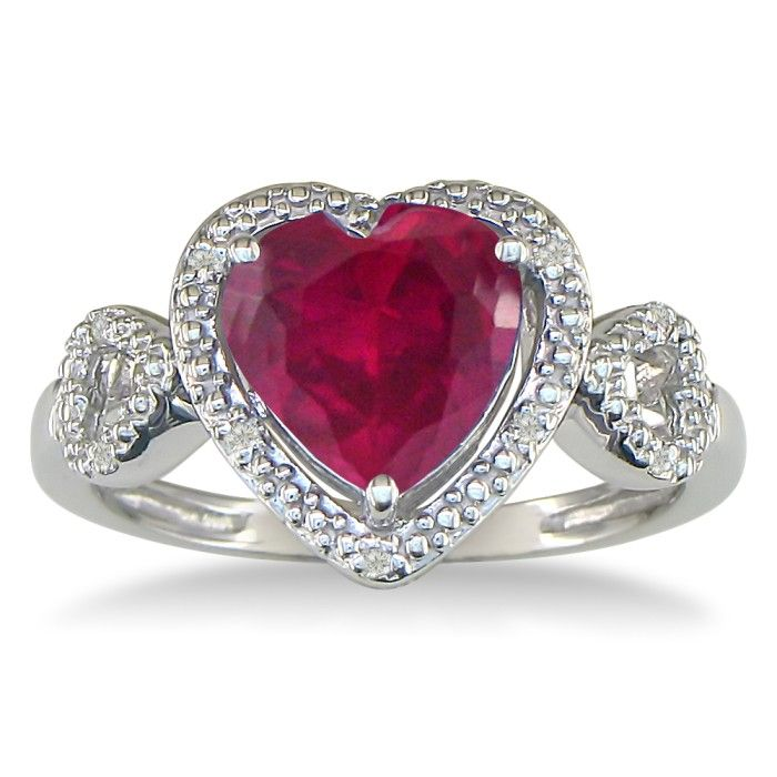 1 3/4ct Ruby And Diamond Heart Ring In 10k White Gold