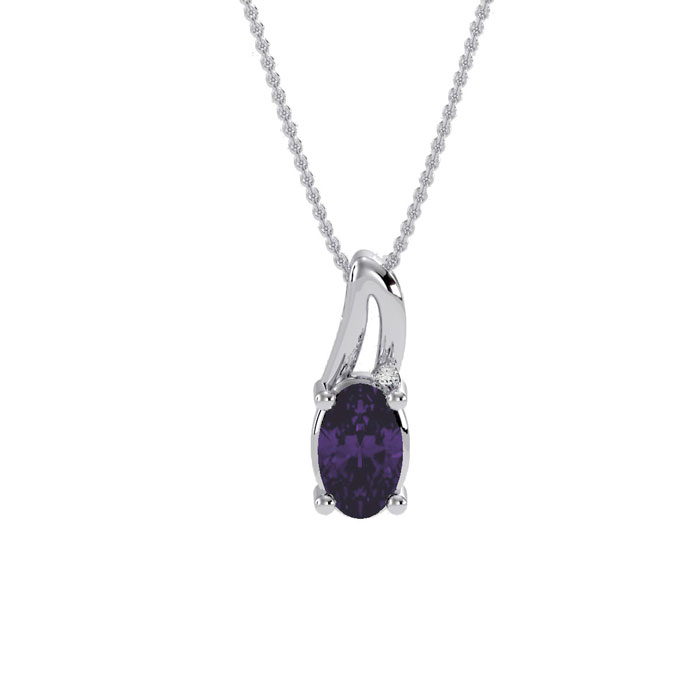 1/2ct Oval Amethyst and Diamond Pendant in 10k White Gold
