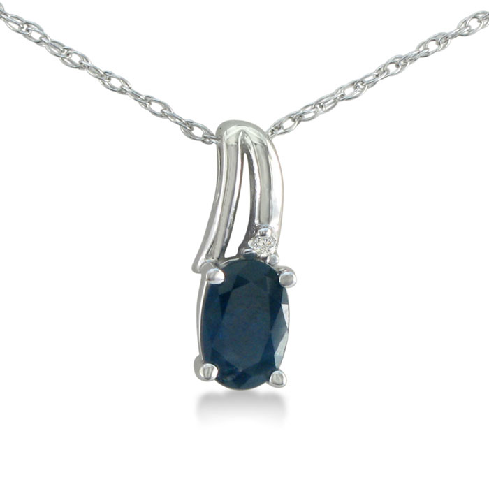 1/2ct Oval Sapphire and Diamond Pendant in 10k White Gold