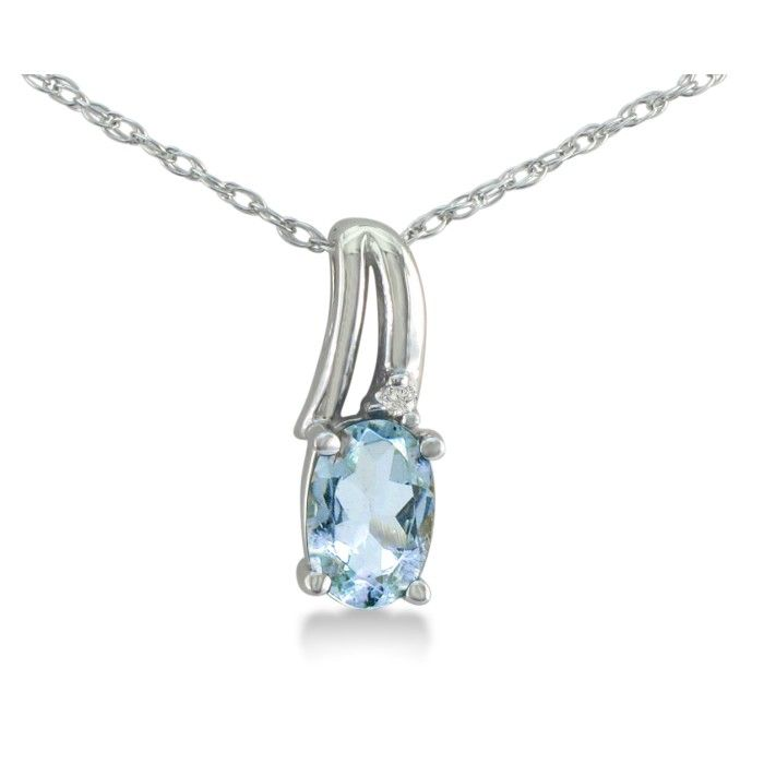 Image of 1/2ct Oval Aquamarine and Diamond Pendant in 10k White Gold