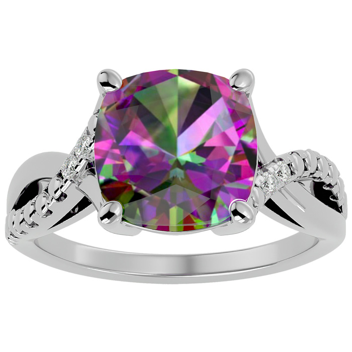 4ct cushion cut mystic topaz and ring in 10k white