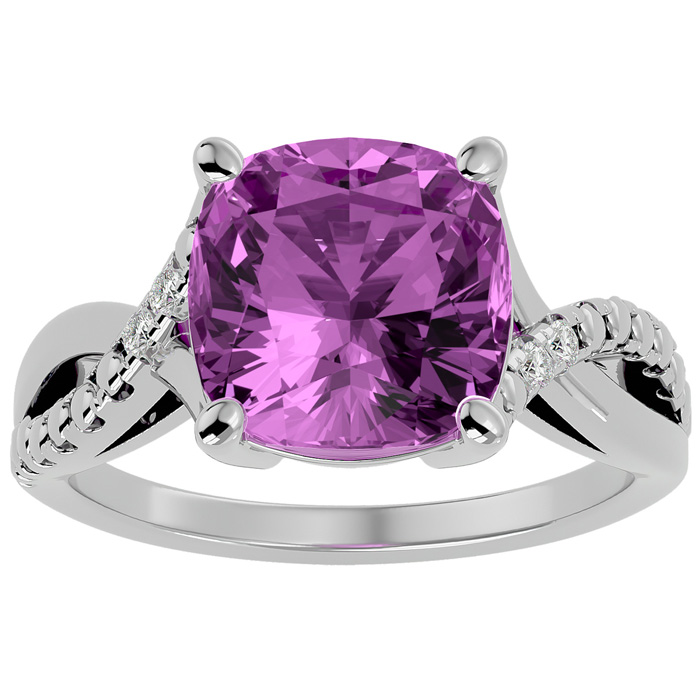 4ct Cushion Cut Pink Topaz and Diamond Ring in 10k White Gold