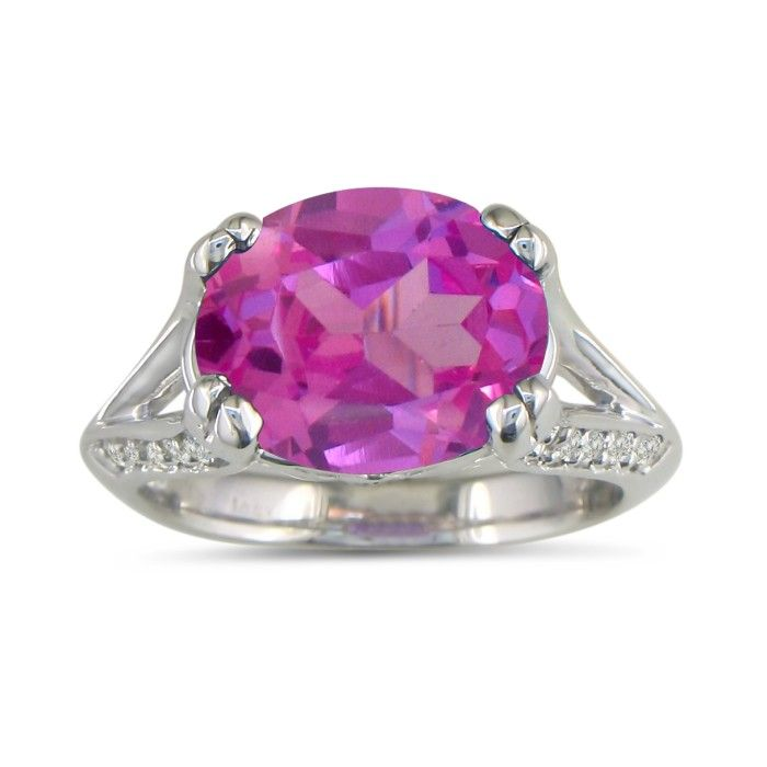 3 3 4ct oval pink topaz and ring in 14k white gold