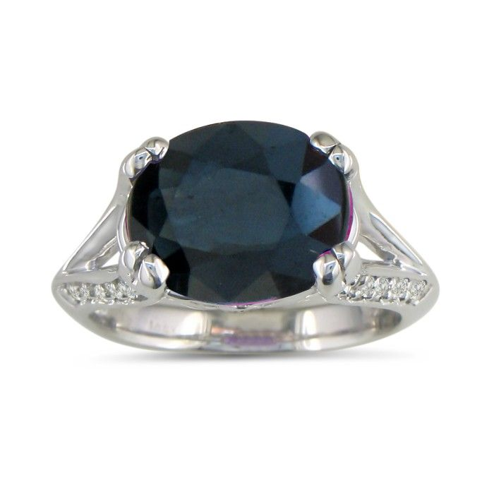 3 3/4ct Oval Blue Sapphire And Diamond Ring In 14k White Gold