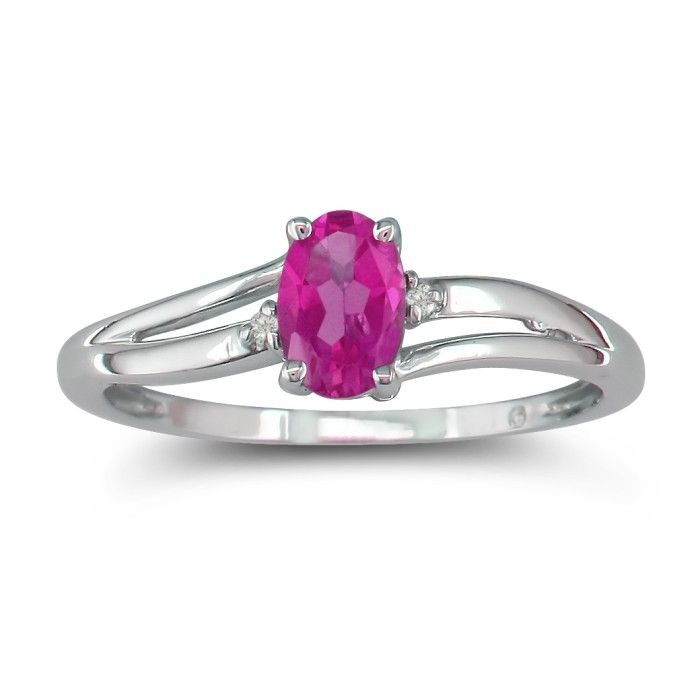 60ct oval pink topaz and ring in 10k white gold