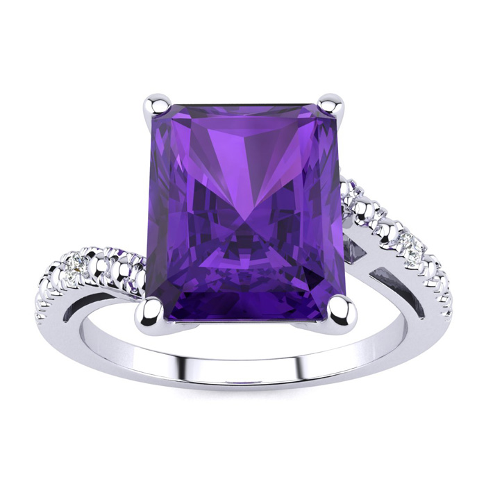 4ct Emerald Cut Amethyst And Diamond Ring In 10k White Gold