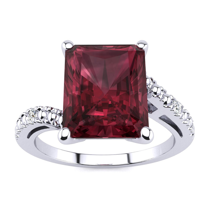 4ct Emerald Cut Garnet And Diamond Ring In 10k White Gold