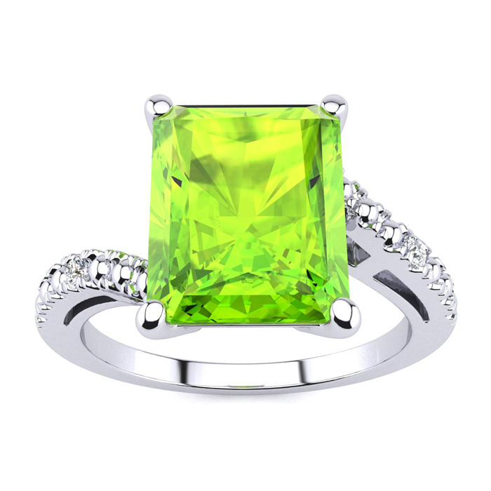 4ct emerald cut peridot and ring in 10k white gold