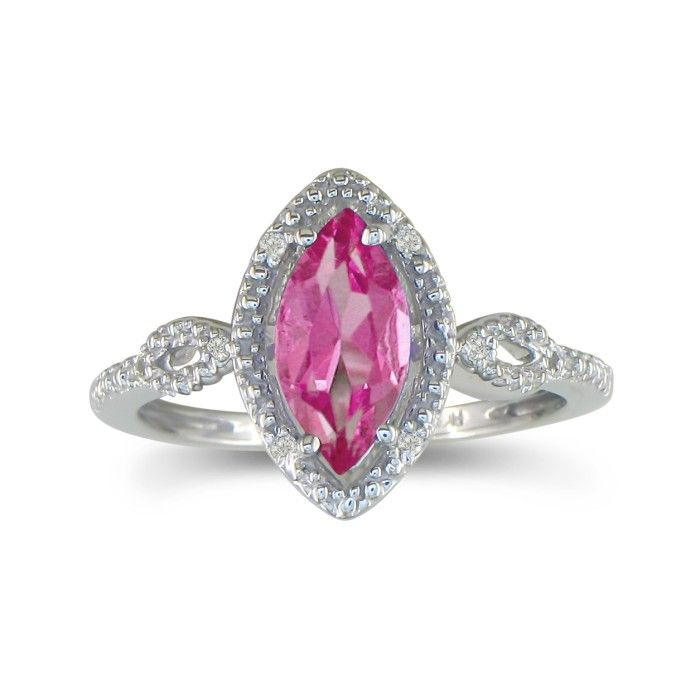 3/4ct Marquise Pink Topaz and Diamond Ring in 10k White Gold