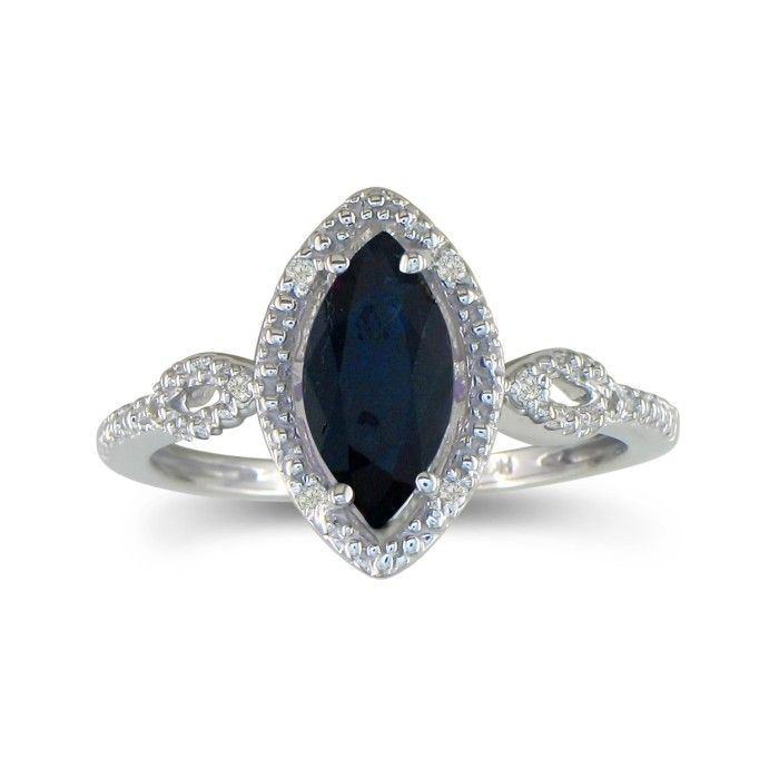 3/4ct Marquise Sapphire And Diamond Ring In 10k White Gold