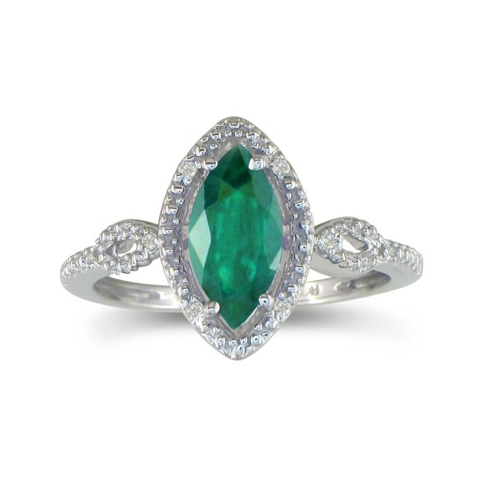 3 4ct marquise emerald and ring in 10k white gold