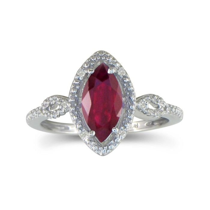 3/4ct Marquise Ruby And Diamond Ring In 10k White Gold