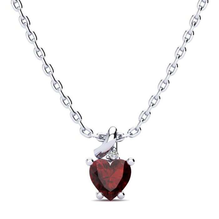 1/2ct Garnet and Diamond Heart Pendant in 10k White Gold