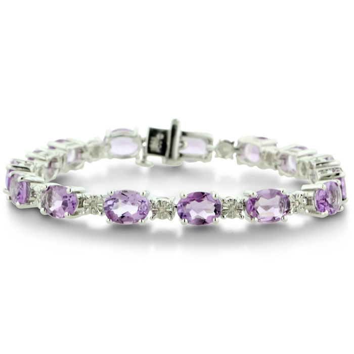17ct Amethyst and Diamond Bracelet in Sterling Silver