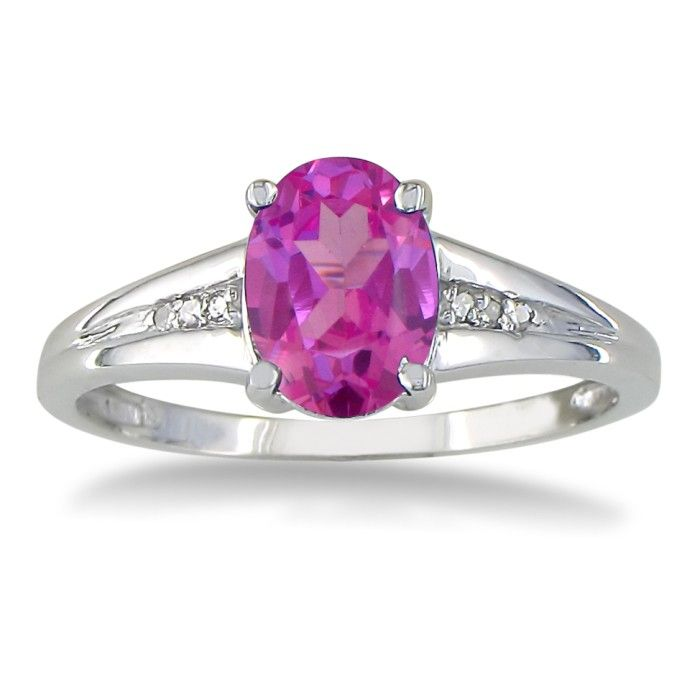 1 1/2ct Oval Pink Topaz and Diamond Ring in 10k White Gold