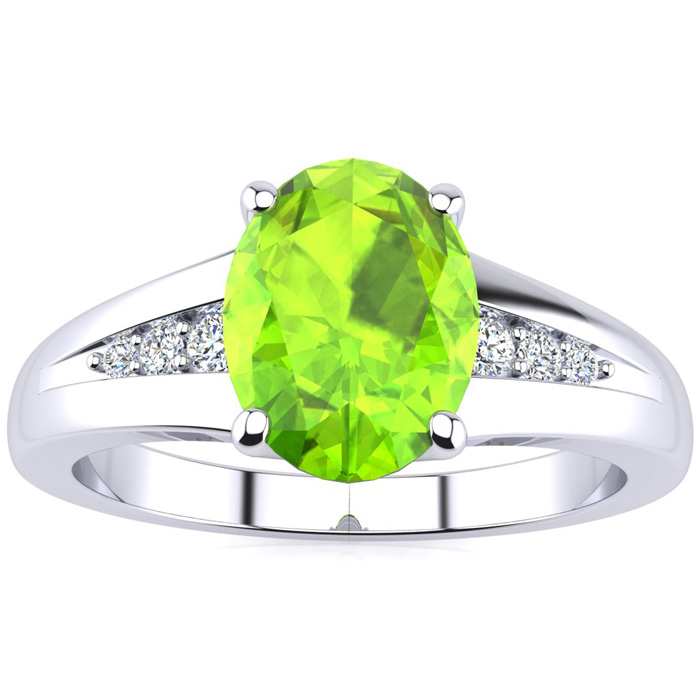 1 1/4ct Oval Peridot And Diamond Ring In 10k White Gold