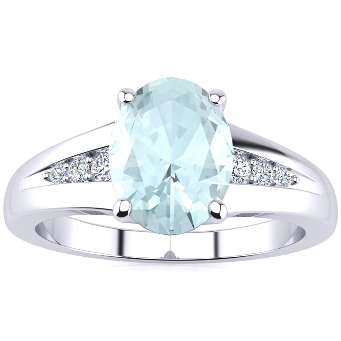1 1/4ct Oval Aquamarine and Diamond Ring in 10k White Gold