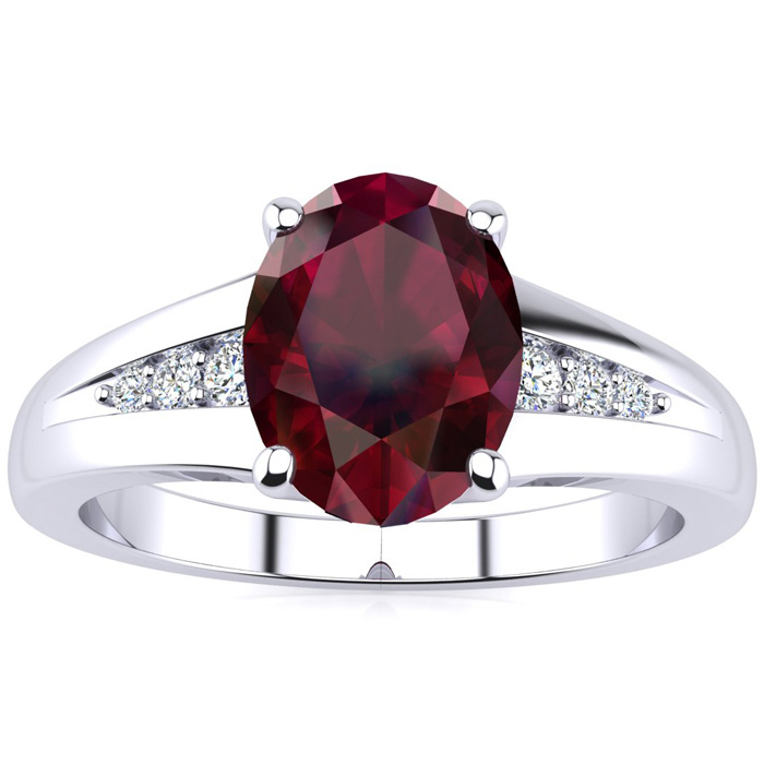 1 1/2ct Oval Ruby And Diamond Ring In 10k White Gold
