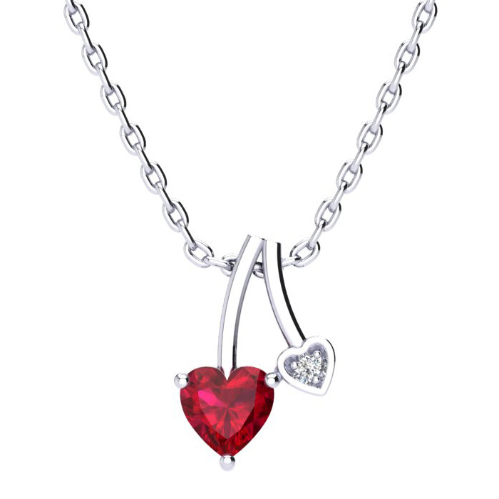 1/2ct Heart Shaped Ruby and Diamond Pendant in 10k White Gold