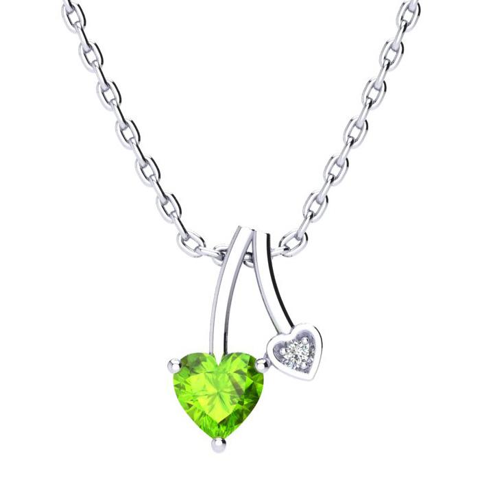 1/2ct Heart Shaped Peridot and Diamond Pendant in 10k White Gold