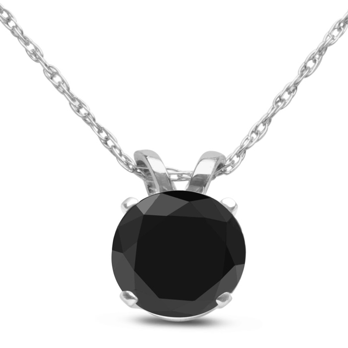 3/4ct Black Diamond Solitaire Pendant in 10k White Gold